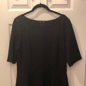 Kate Spade Lace Up Black Ponte Dress